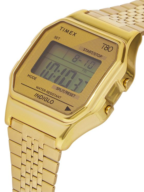Timex T80 34mm Gold-Tone Digital Watch