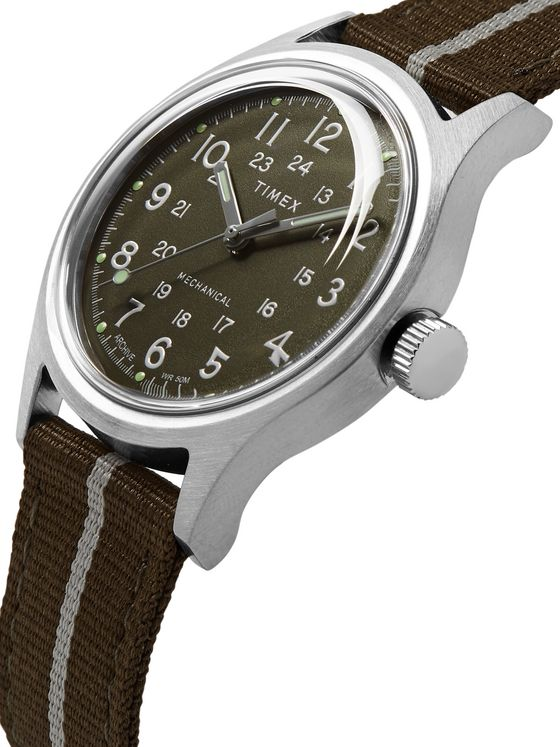 Timex MK1 Hand-Wound 36mm Stainless Steel and Striped NATO Watch
