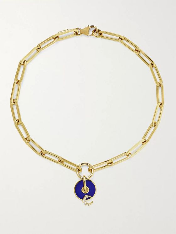 Foundrae Classic Fob 18-Karat Gold, Enamel and Diamond Bracelet