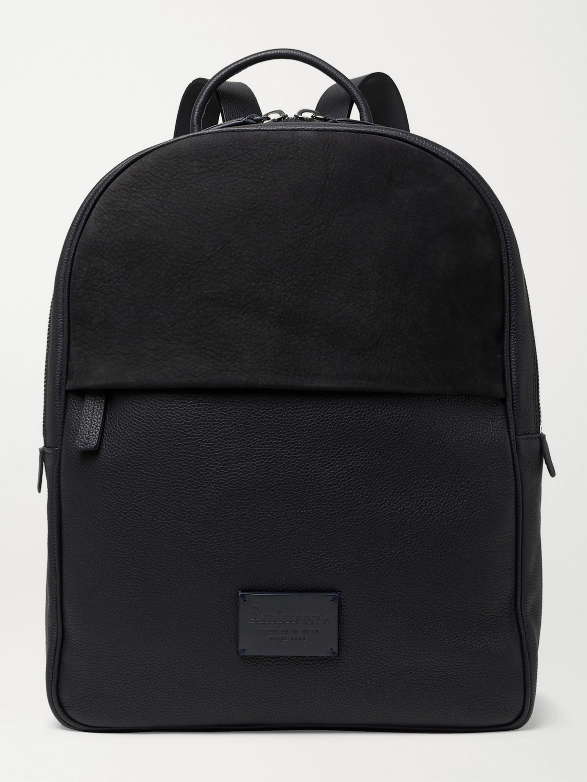 Anderson's Full-grain Leather And Suede Backpack In Black