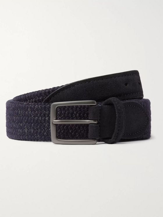 Anderson's 3.5cm Suede-Trimmed Woven Wool-Blend Belt