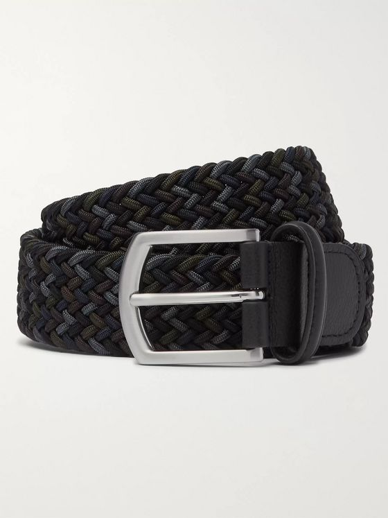 Anderson's 3.5cm Leather-Trimmed Woven Elastic Belt