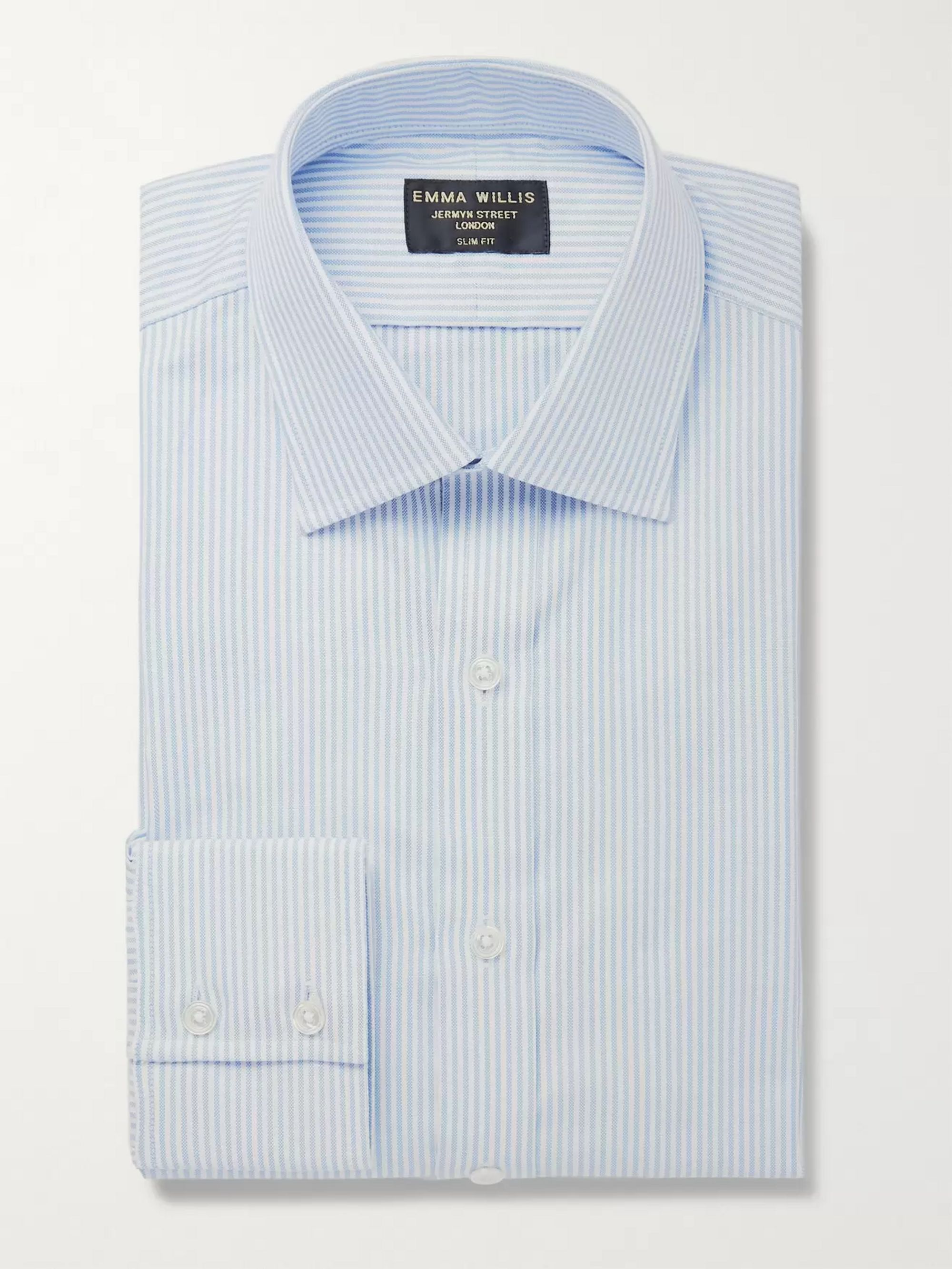 Emma Willis Sky-Blue Slim-Fit Pinstriped Cotton Oxford Shirt