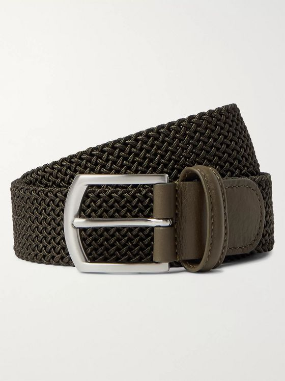 Anderson's 4cm Leather Trimmed Woven Elastic Belt
