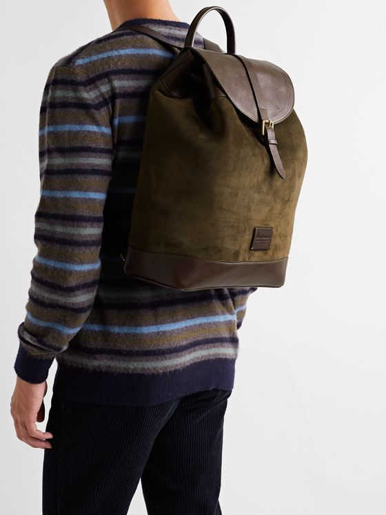 ANDERSON'S Textured Leather-Trimmed Suede Backpack
