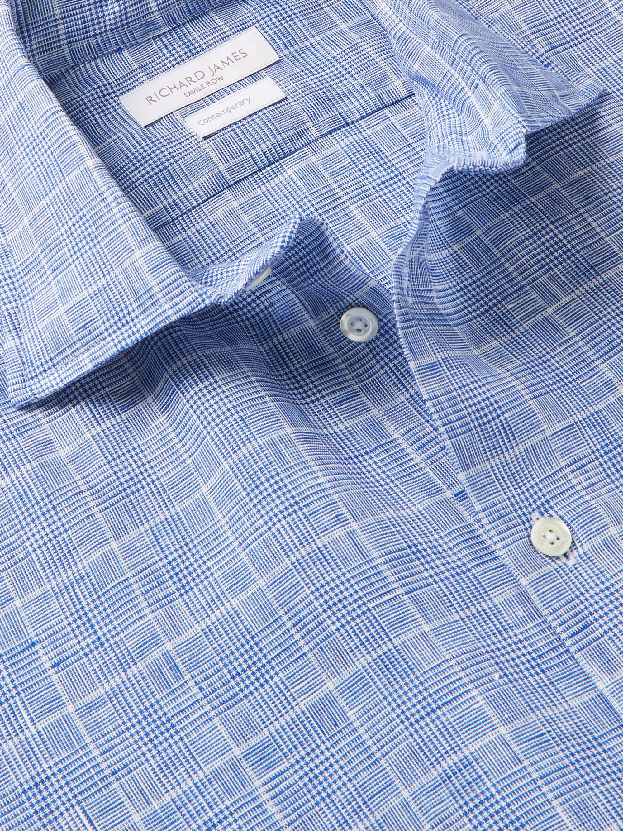 Richard James Slim-Fit Prince of Wales Checked Linen Shirt