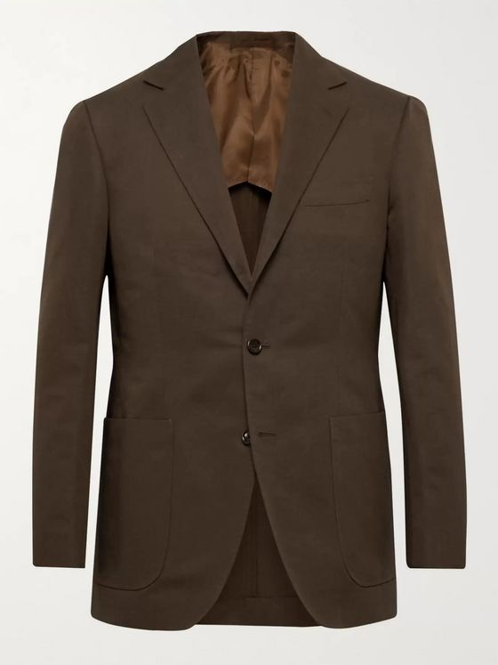 Beams F Slim-Fit Cotton and Linen-Blend Twill Suit