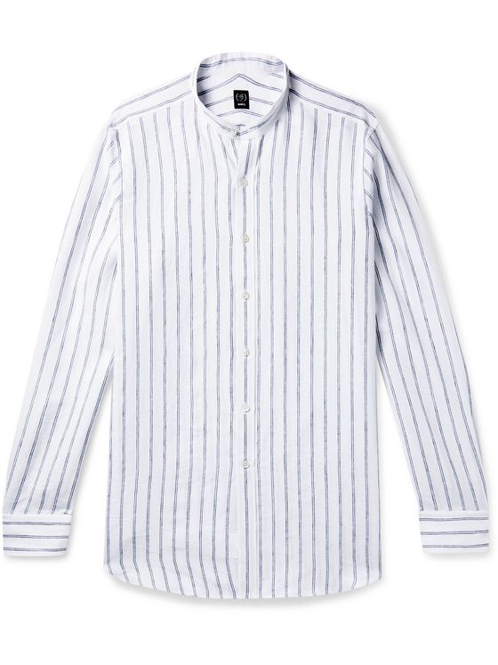 Beams F Grandad-Collar Striped Linen Shirt