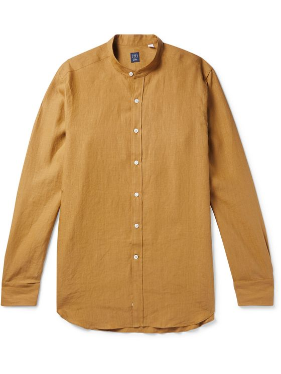 Beams F Grandad-Collar Linen Shirt