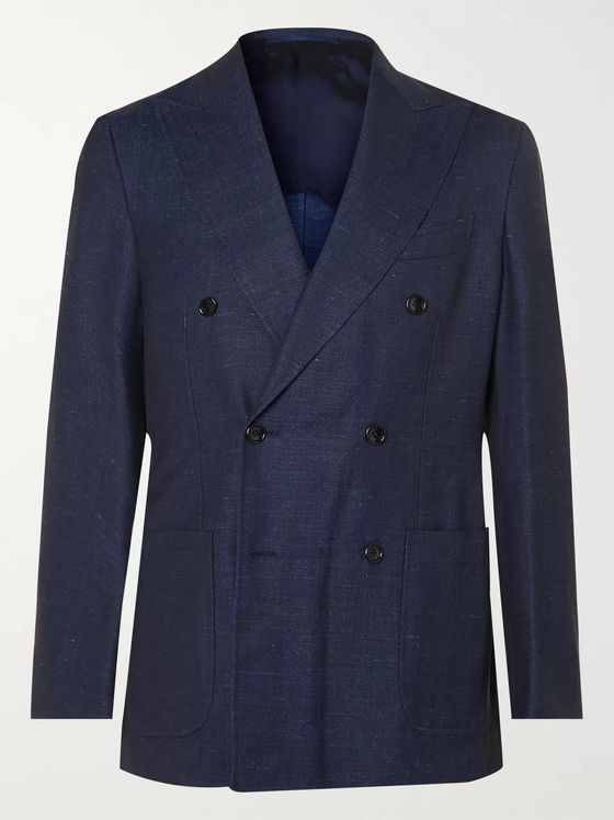 Beams F Unstructured Double-Breasted Wool, Silk and Linen-Blend Denim Blazer
