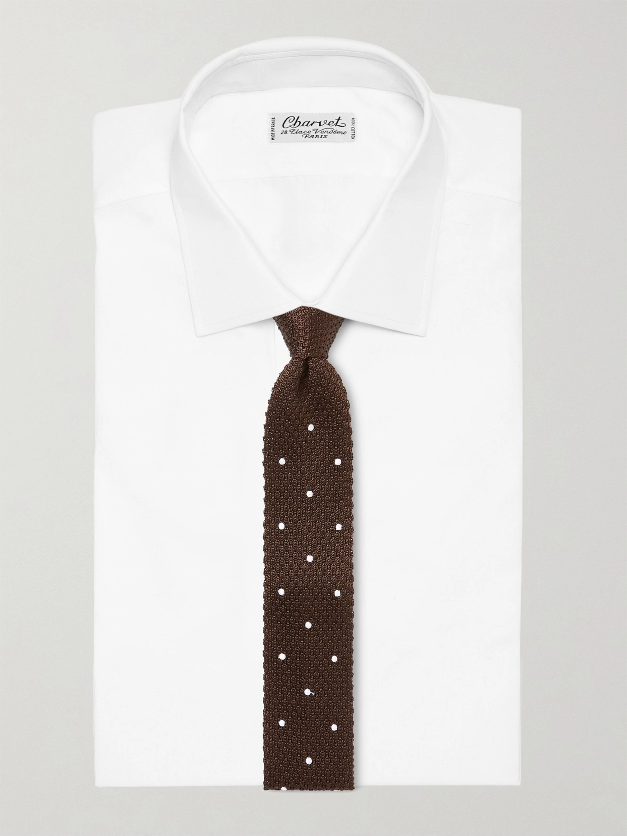 Beams F 7cm Polka-Dot Knitted Silk Tie