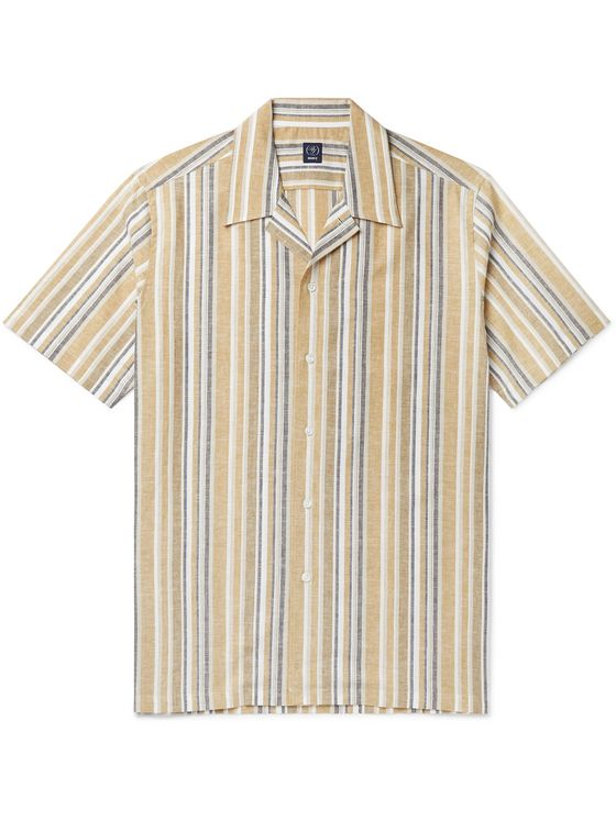 Beams F Camp-Collar Striped Cotton and Linen-Blend Shirt