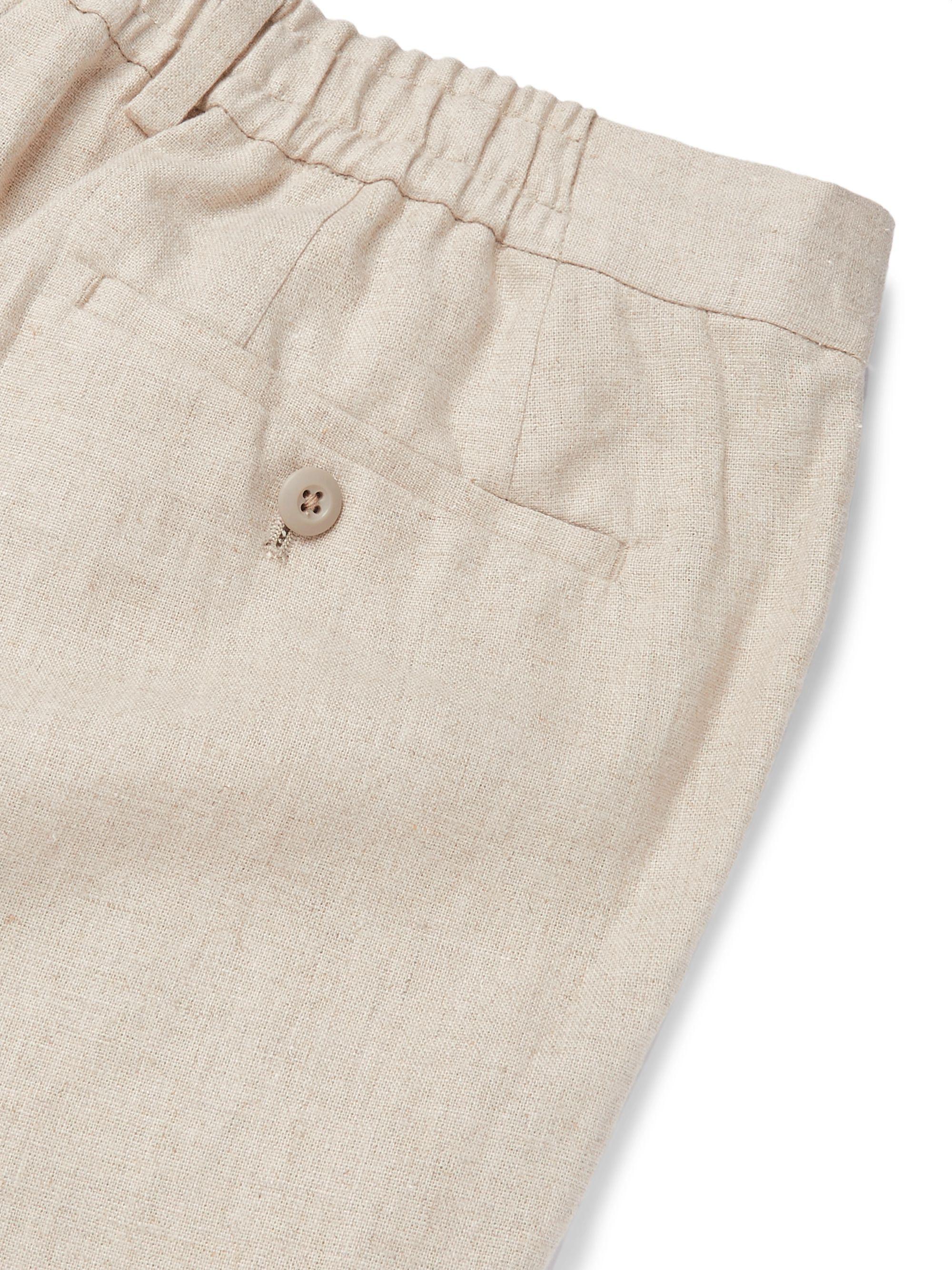 Beige Linen Drawstring Trousers | Beams F