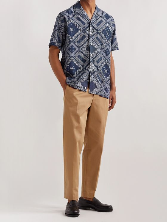 Beams F Camp-Collar Bandana-Print Voile Shirt
