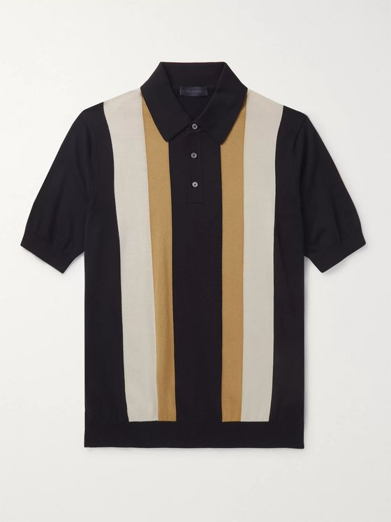 Thom Sweeney Striped Cotton Polo Shirt