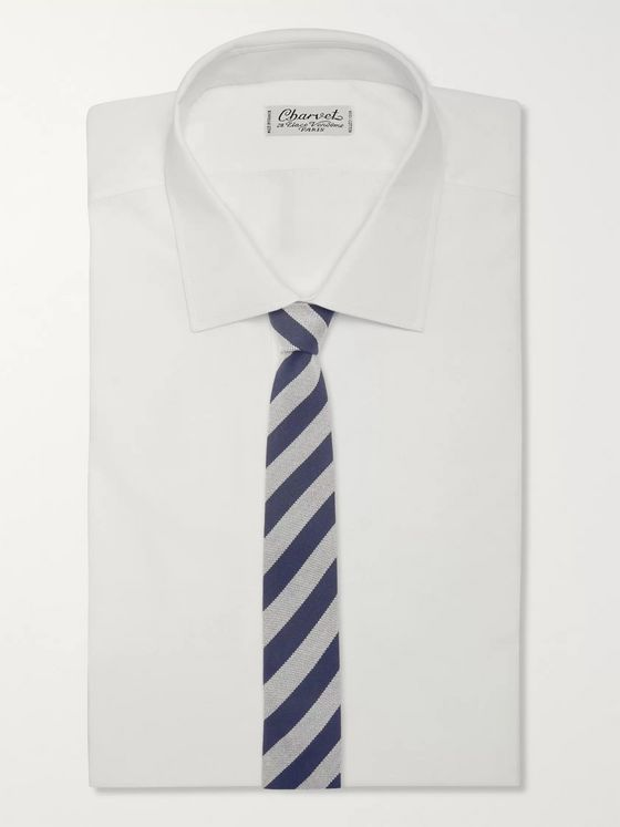Thom Sweeney 7.5cm Striped Cotton and Silk-Blend Tie