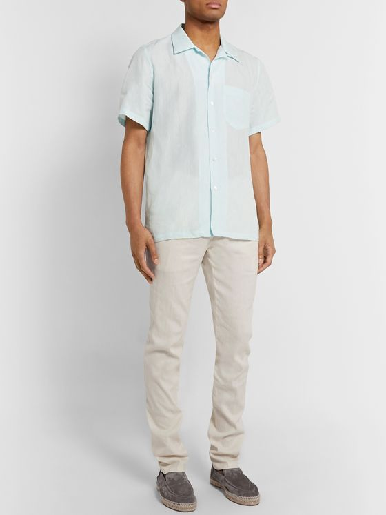 Thom Sweeney Tapered Pleated Linen-Blend Trousers