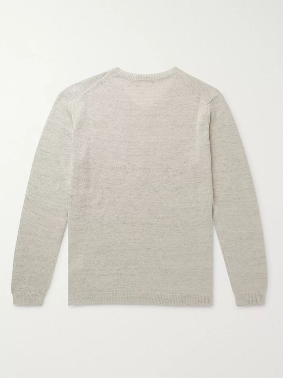 Thom Sweeney Mélange Linen and Silk-Blend Henley Sweater