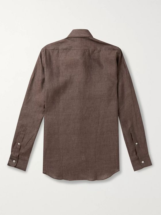 Thom Sweeney Button-Down Collar Linen Shirt
