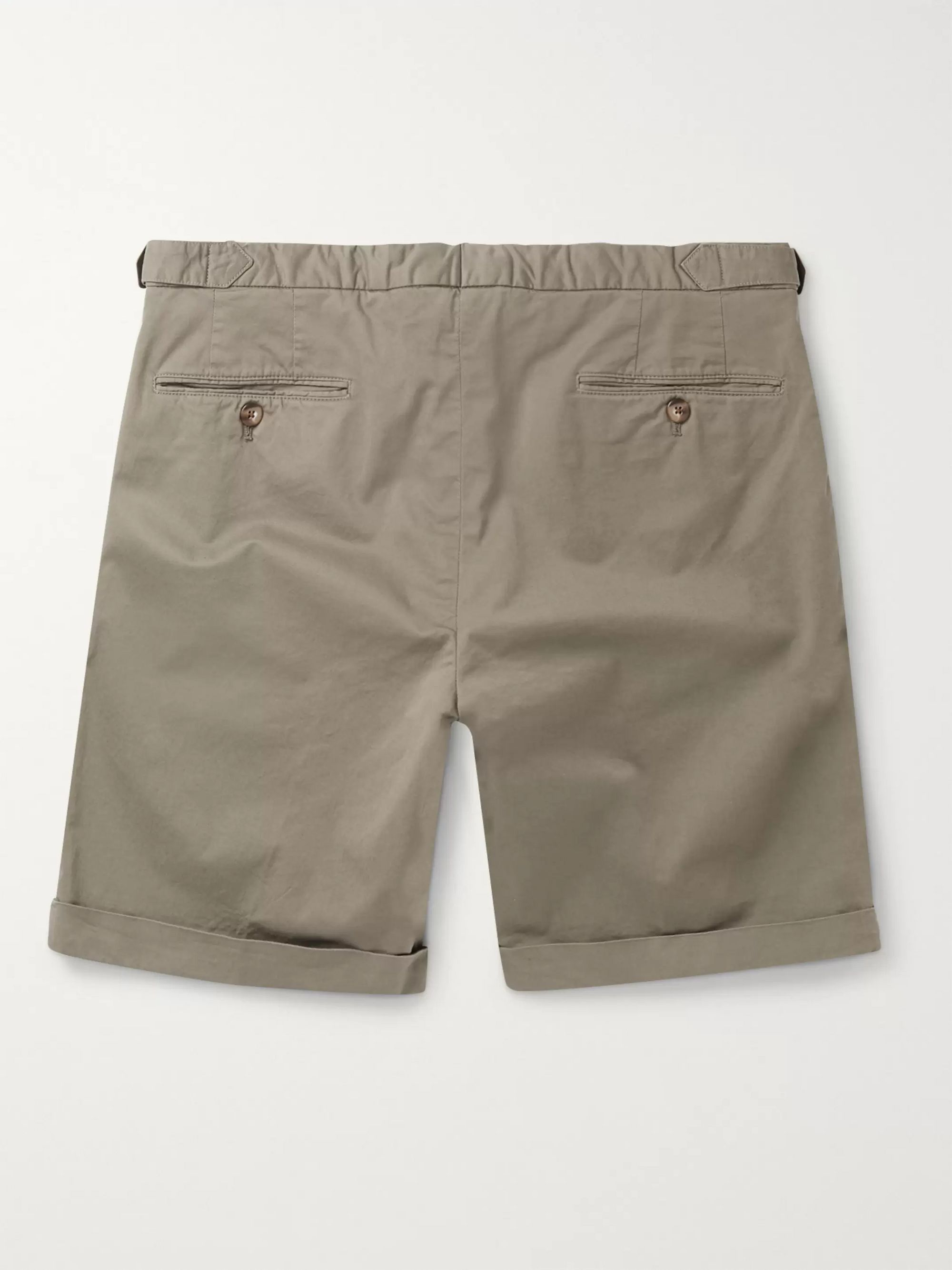Army Green Slim-fit Cotton-blend Twill Shorts | Thom Sweeney
