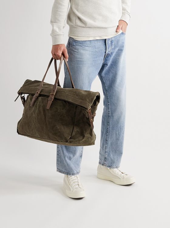 Bleu de Chauffe Leather-Trimmed Waxed Cotton-Canvas Holdall