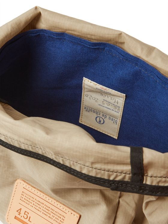 Bleu de Chauffe Logo-Appliquéd Leather-Trimmed Cotton-Ripstop Wash Bag