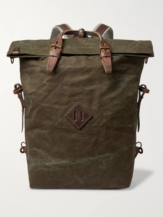 Bleu de Chauffe Woody Leather-Trimmed Waxed Cotton-Canvas Backpack