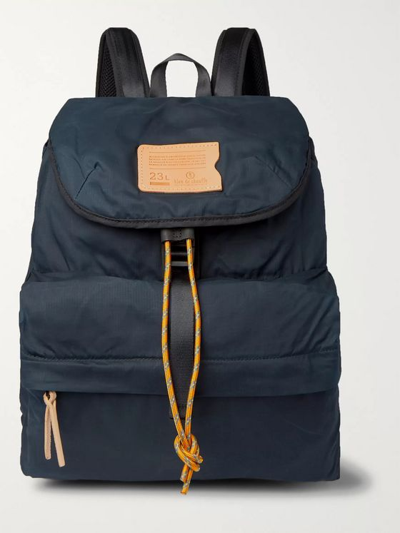 Bleu de Chauffe Bayou Leather-Trimmed Waxed Cotton-Ripstop Backpack