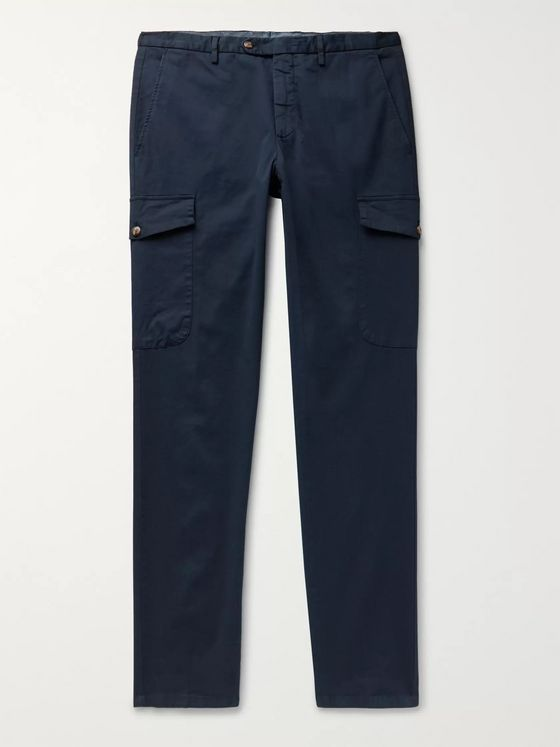 Thom Sweeney Cavalry Slim-Fit Tapered Stretch-Cotton Twill Cargo Trousers
