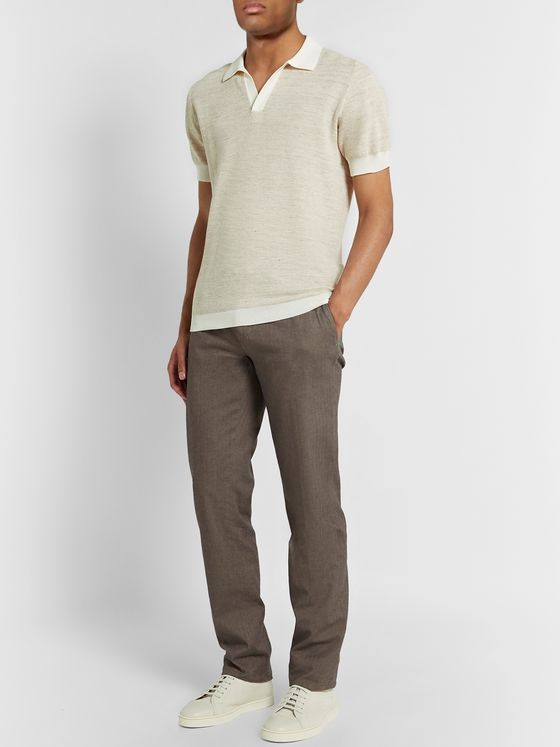 Thom Sweeney Mélange Cotton and Linen-Blend Polo Shirt