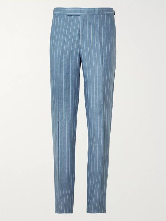 Richard James Striped Linen Suit Trousers