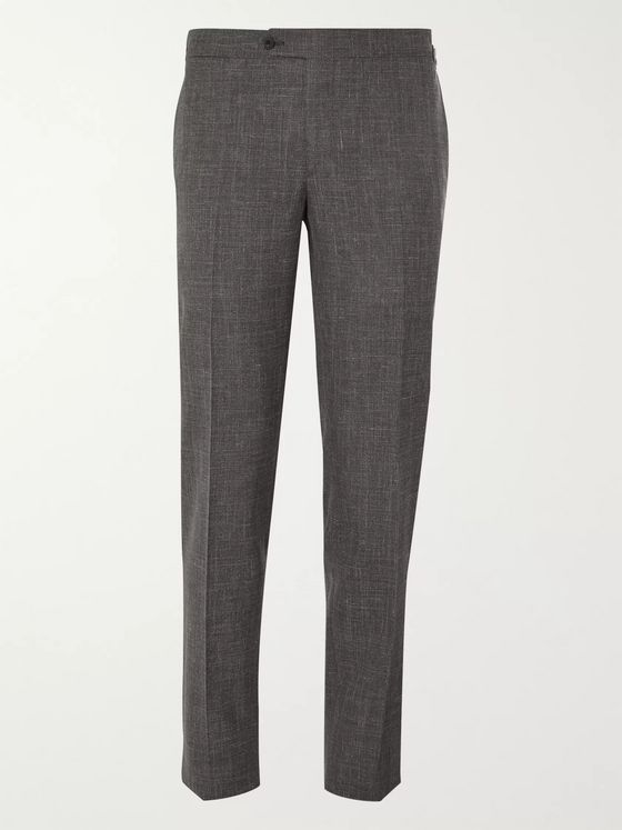Thom Sweeney Tapered Wool, Silk and Linen-Blend Suit Trousers