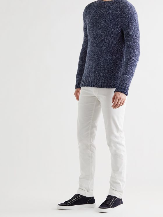 RALPH LAUREN PURPLE LABEL Mélange Cashmere Mock-Neck Sweater