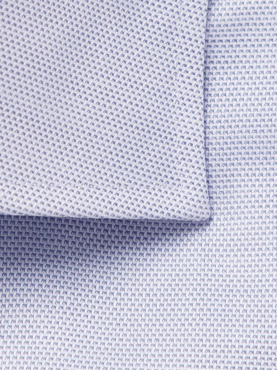 Canali Cutaway-Collar Textured-Cotton Shirt