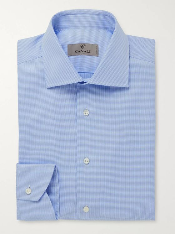 Canali Cutaway-Collar Houndstooth Cotton Shirt