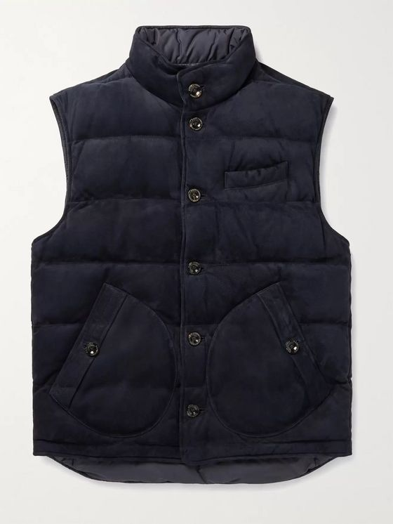 Ralph Lauren Purple Label Mardell Reversible Quilted Suede and Shell Down Gilet