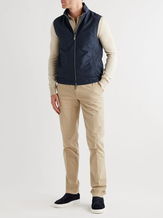Canali Suede-Trimmed Shell Gilet