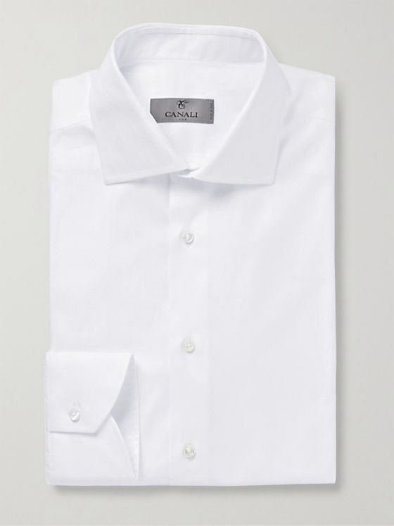 Canali Cutaway-Collar Herringbone Cotton Shirt