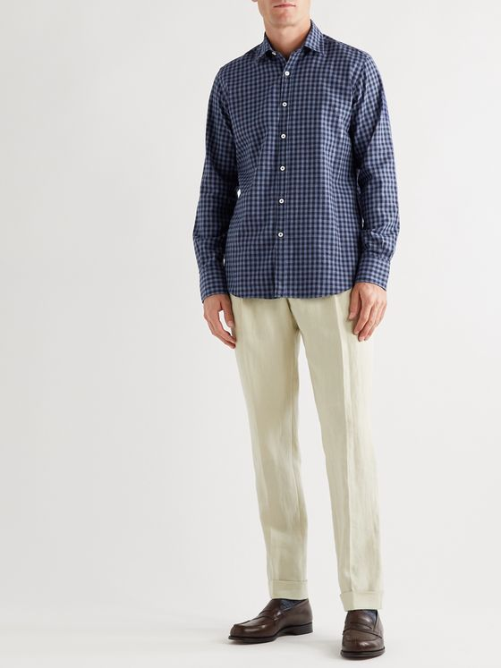 Canali Checked Cotton-Flannel Shirt