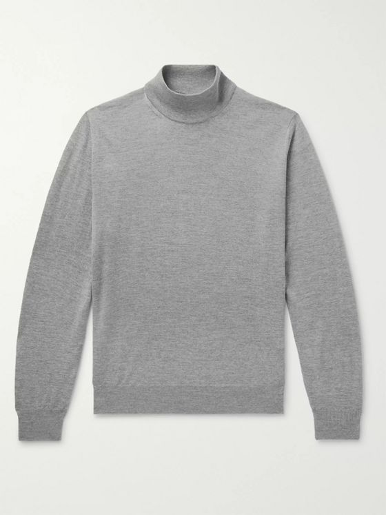 CANALI Mélange Merino Wool Mock-Neck Sweater