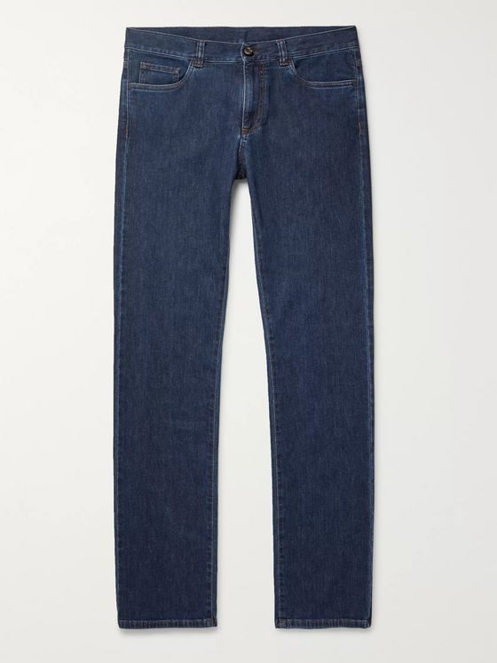 Canali Slim-Fit Stretch Cotton and Cashmere-Blend Denim Jeans