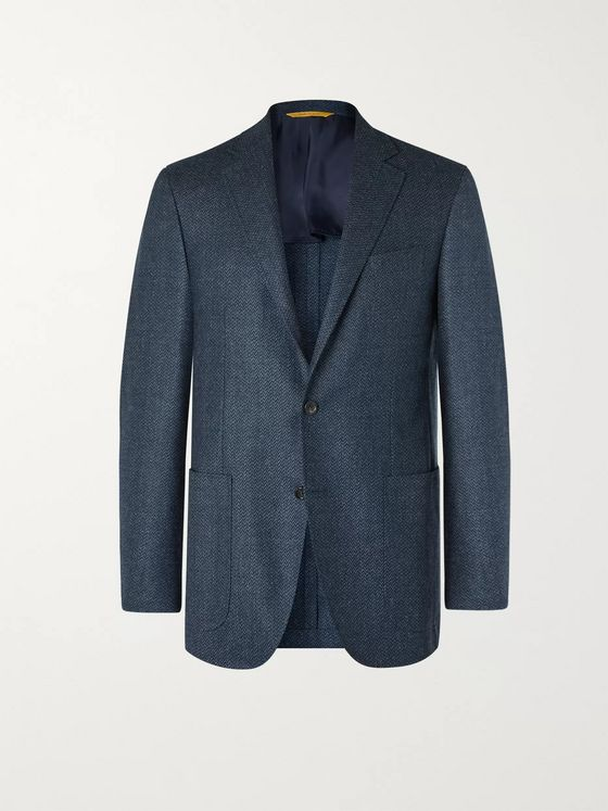 Canali Kei Slim-Fit Unstructured Herringbone Wool Blazer