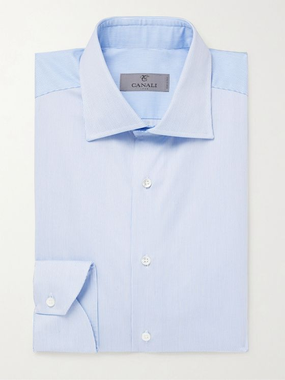 Canali Blue Striped Cotton Shirt