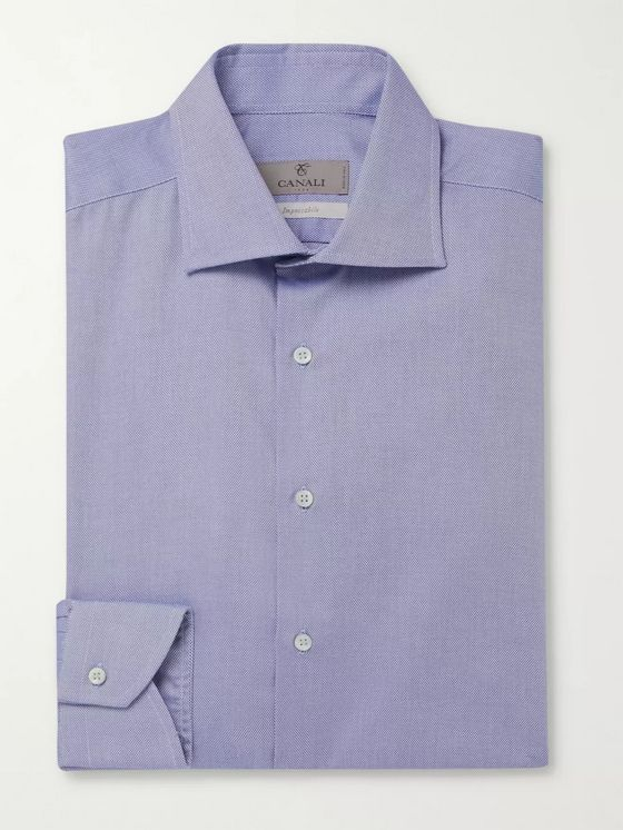 CANALI Cutaway-Collar Pin-Dot Cotton Shirt