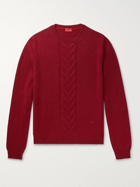 Isaia Slim-Fit Cable-Knit Wool Sweater