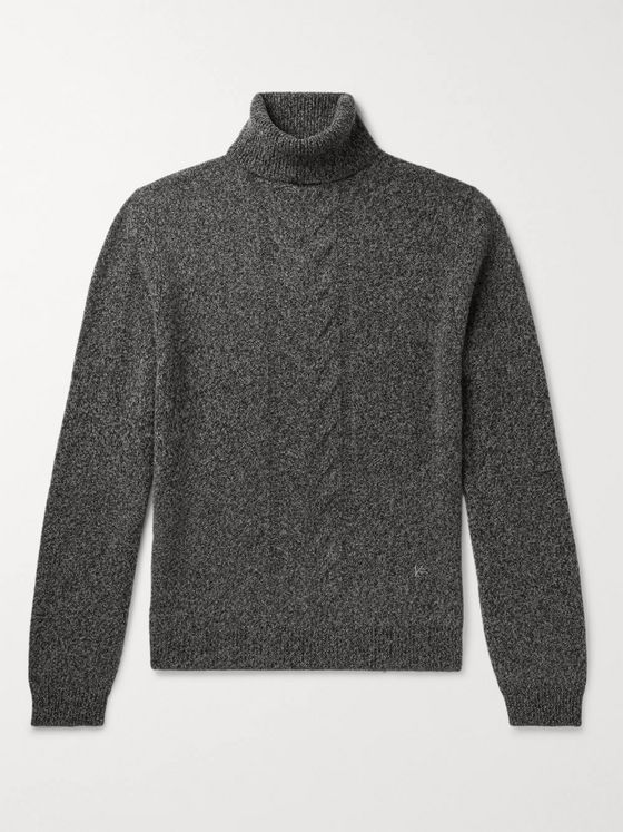 Isaia Slim-Fit Cable-Knit Wool Rollneck Sweater