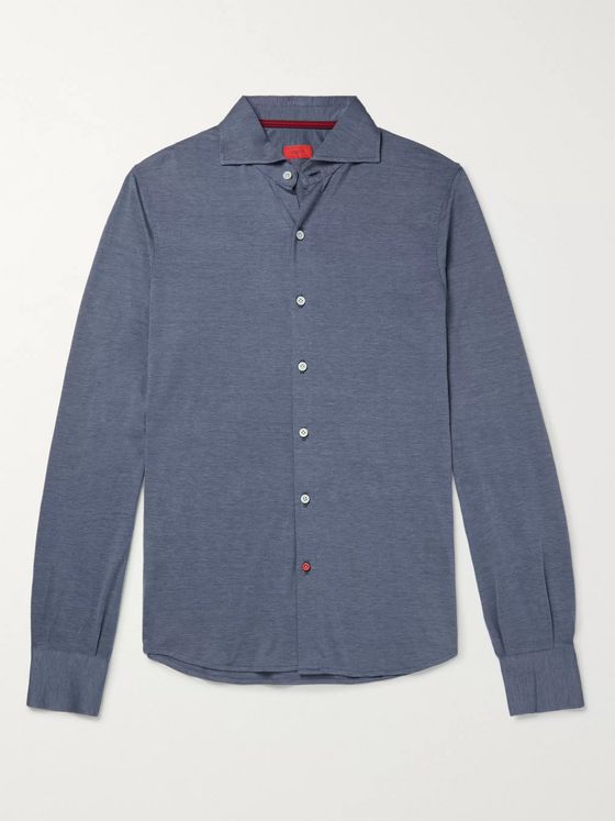 Isaia Cutaway-Collar Silk and Cotton-Blend Shirt
