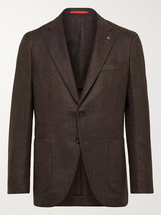 Isaia Slim-Fit Herringbone Wool and Cashmere-Blend Blazer