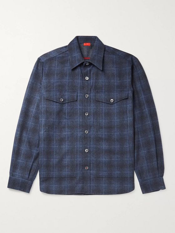 Isaia Checked Wool and Cashmere-Blend Overshirt