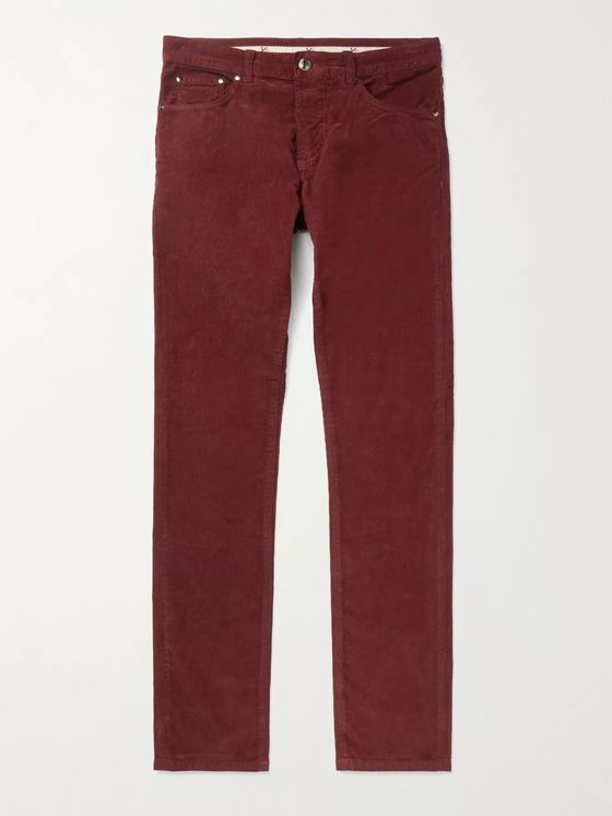 Isaia Skinny-Fit Stretch Cotton-Corduroy Trousers